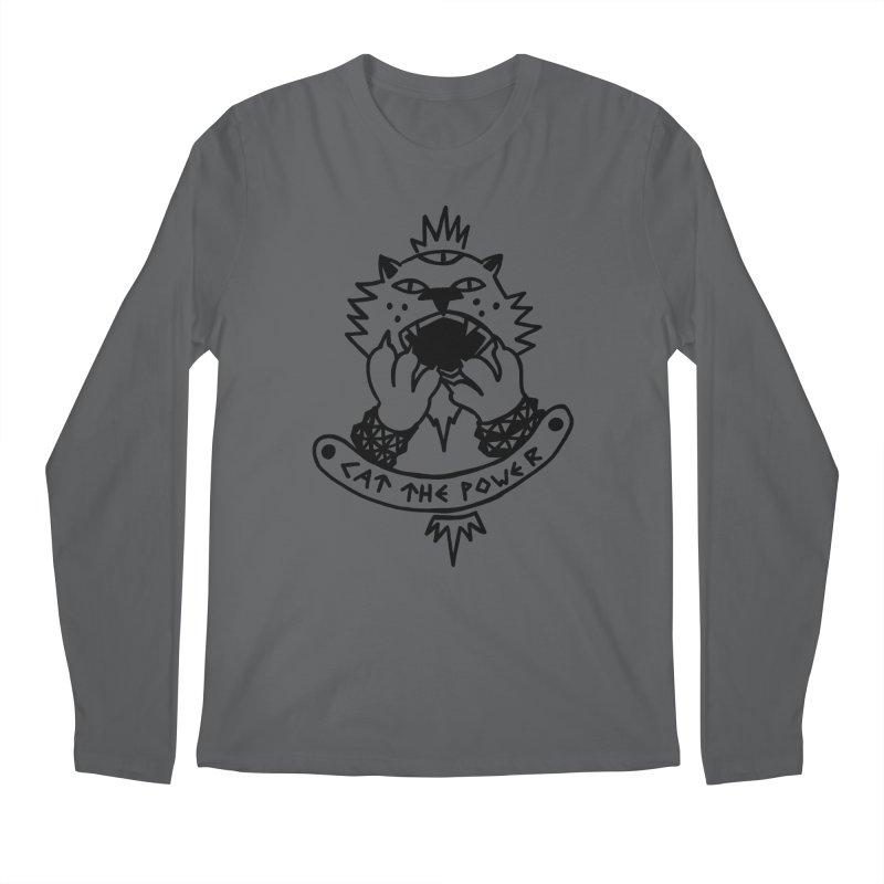 Cat the power (black line) Men's Regular Longsleeve T-Shirt by Ertito Montana