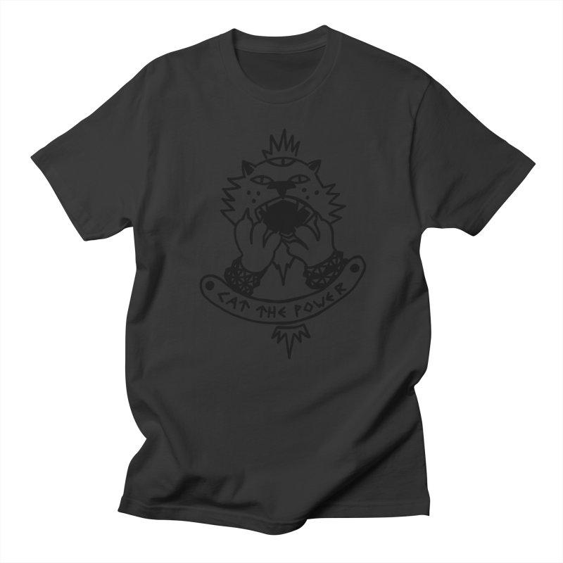 Cat the power (black line) Women's Regular Unisex T-Shirt by Ertito Montana
