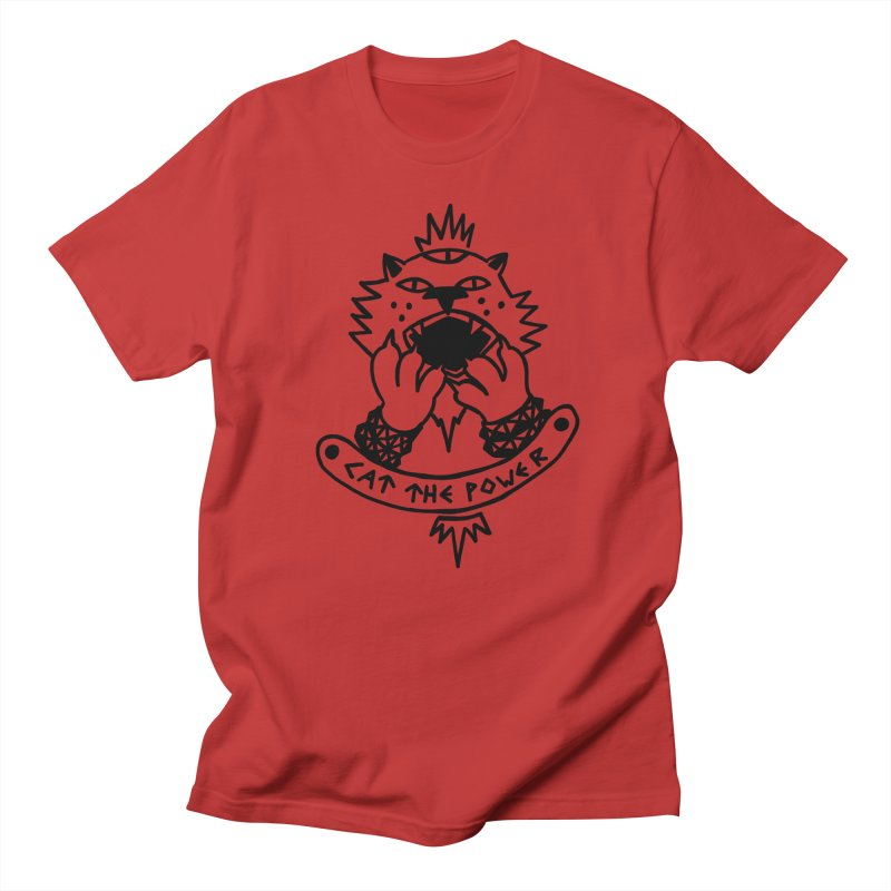 Cat the power (black line) Men's Regular T-Shirt by Ertito Montana