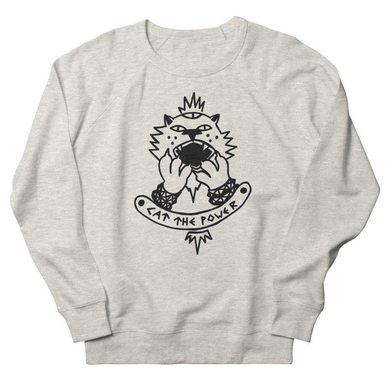 Cat the power (black line) Men's French Terry Sweatshirt by Ertito Montana