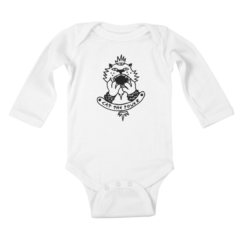 Cat the power (black line) Kids Baby Longsleeve Bodysuit by Ertito Montana