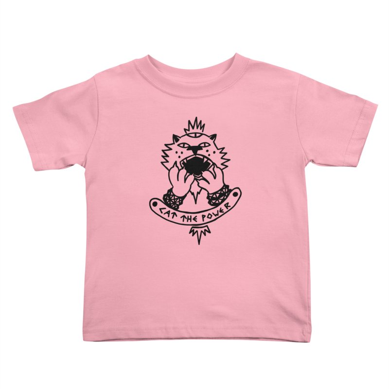 Cat the power (black line) Kids Toddler T-Shirt by Ertito Montana