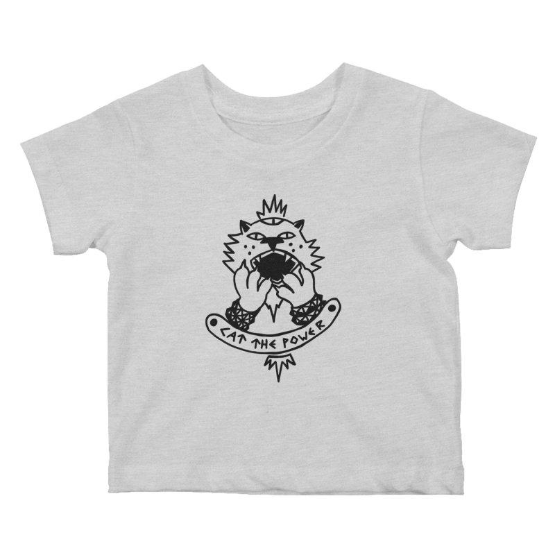 Cat the power (black line) Kids Baby T-Shirt by Ertito Montana
