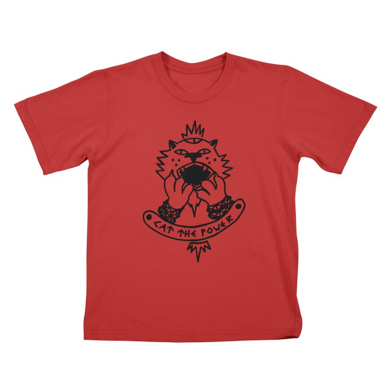 Cat the power (black line) Kids T-Shirt by Ertito Montana