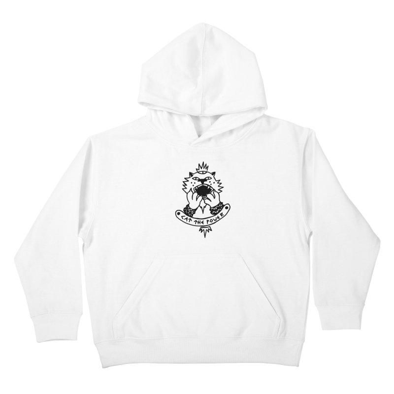 Cat the power (black line) Kids Pullover Hoody by Ertito Montana