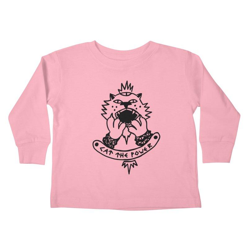 Cat the power (black line) Kids Toddler Longsleeve T-Shirt by Ertito Montana