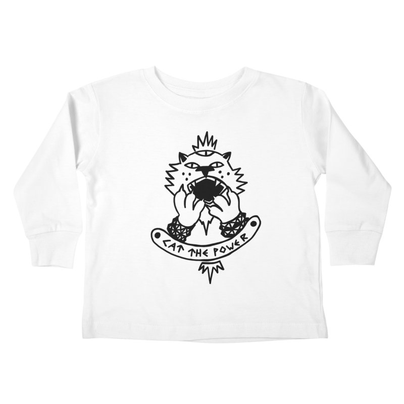 Cat the power (black line) Kids Toddler Longsleeve T-Shirt by Ertito Montana