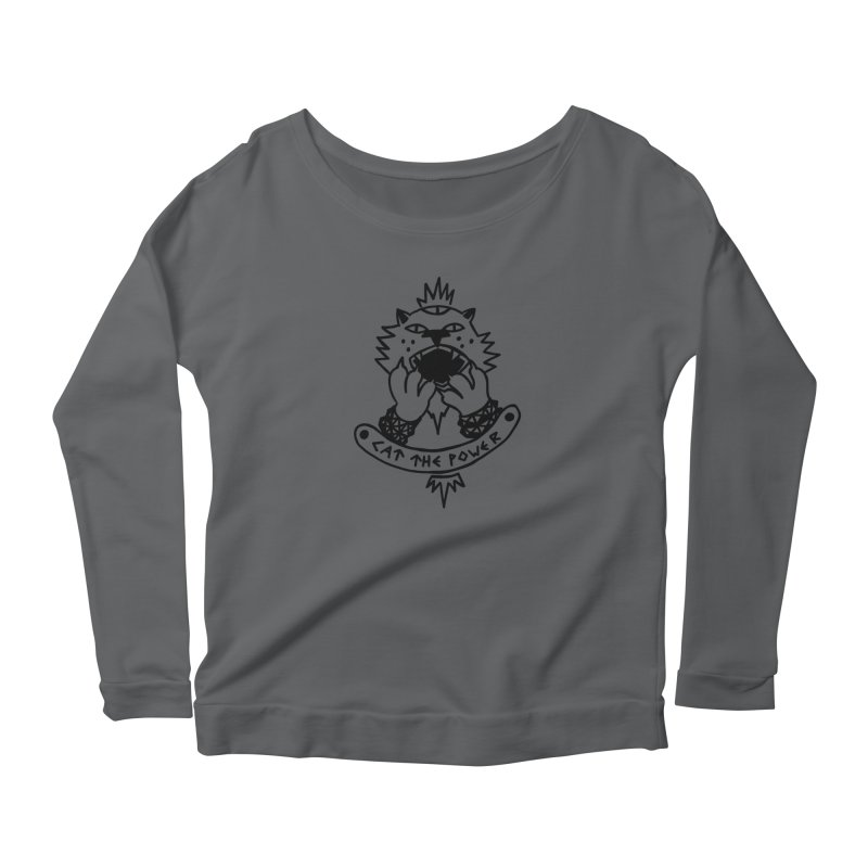 Cat the power (black line) Women's Longsleeve T-Shirt by Ertito Montana