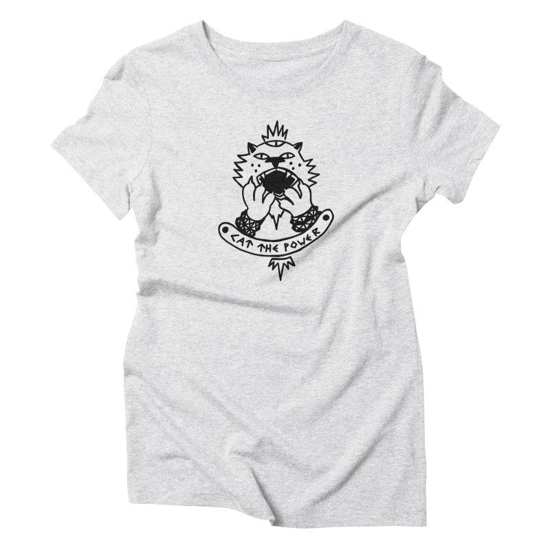 Cat the power (black line) Women's T-Shirt by Ertito Montana