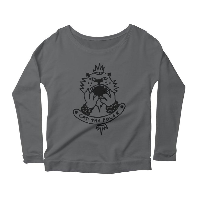 Cat the power (black line) Women's Scoop Neck Longsleeve T-Shirt by Ertito Montana