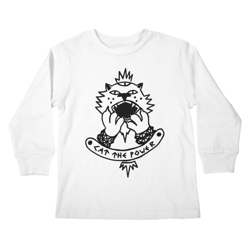 Cat the power (black line) Kids Longsleeve T-Shirt by Ertito Montana