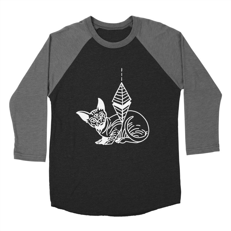 Gato Esfinge (white line) Men's Baseball Triblend Longsleeve T-Shirt by Ertito Montana