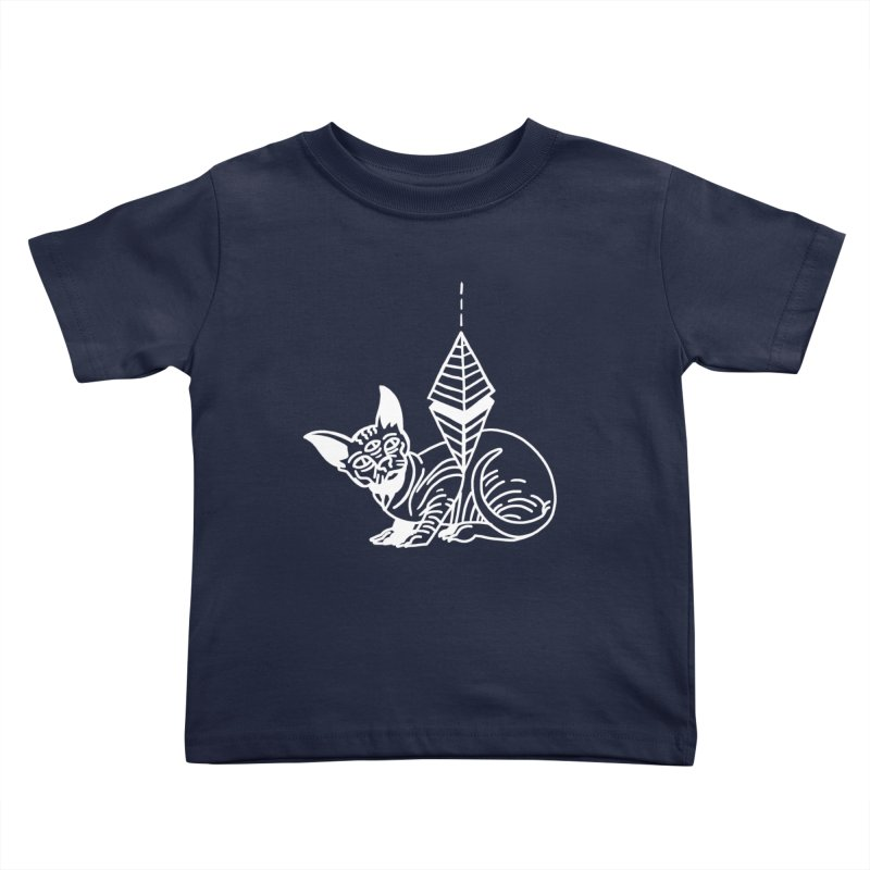 Gato Esfinge (white line) Kids Toddler T-Shirt by Ertito Montana