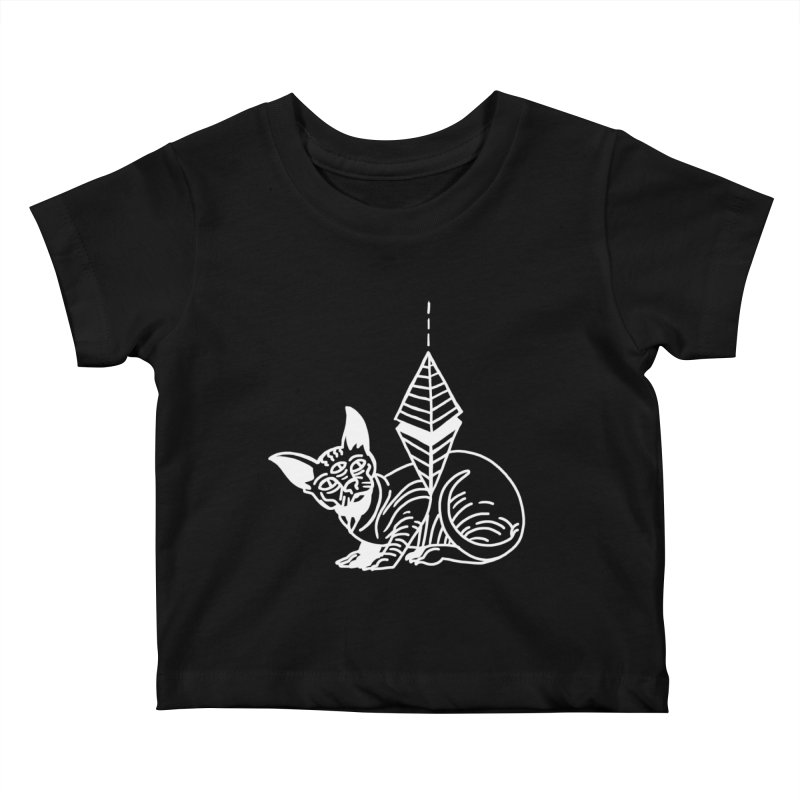 Gato Esfinge (white line) Kids Baby T-Shirt by Ertito Montana
