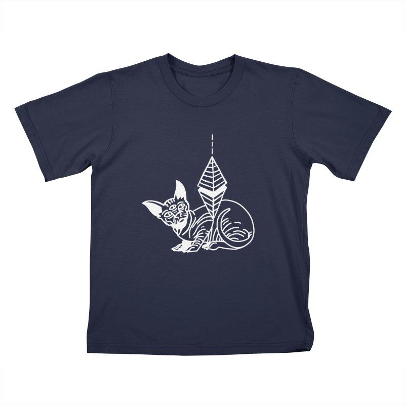Gato Esfinge (white line) Kids T-Shirt by Ertito Montana