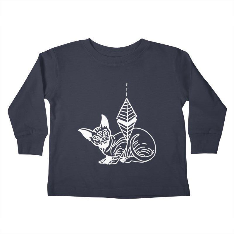 Gato Esfinge (white line) Kids Toddler Longsleeve T-Shirt by Ertito Montana