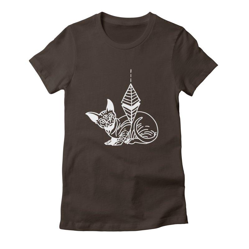 Gato Esfinge (white line) Women's Fitted T-Shirt by Ertito Montana