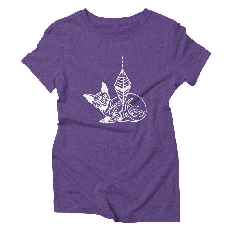 Gato Esfinge (white line) Women's Triblend T-Shirt by Ertito Montana