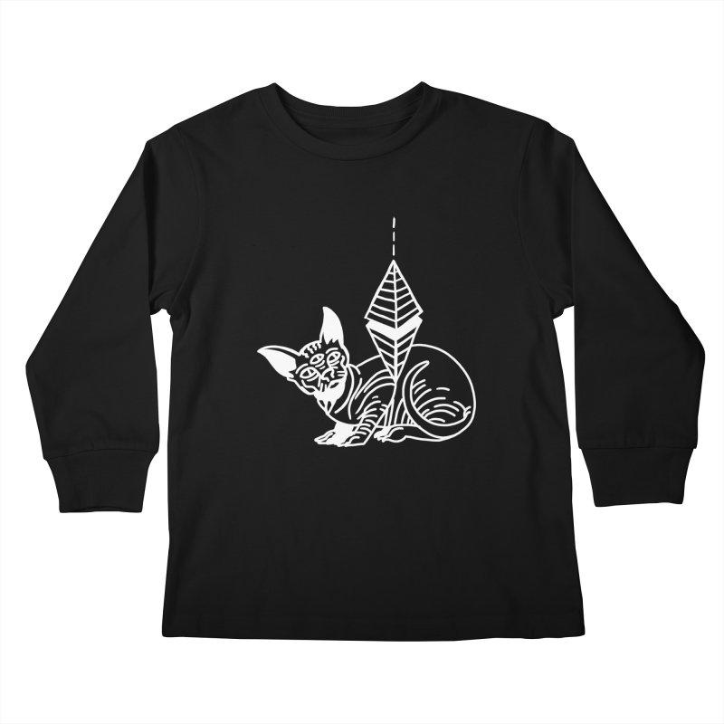 Gato Esfinge (white line) Kids Longsleeve T-Shirt by Ertito Montana
