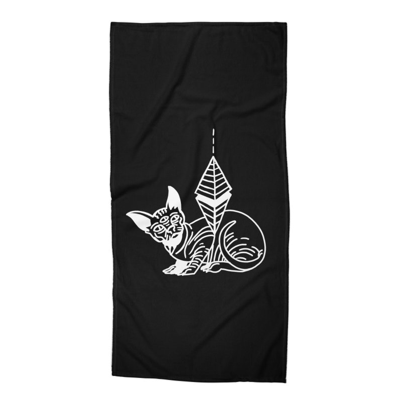Gato Esfinge (white line) Accessories Beach Towel by Ertito Montana