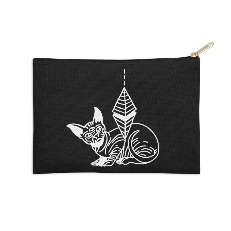Gato Esfinge (white line) Accessories Zip Pouch by Ertito Montana