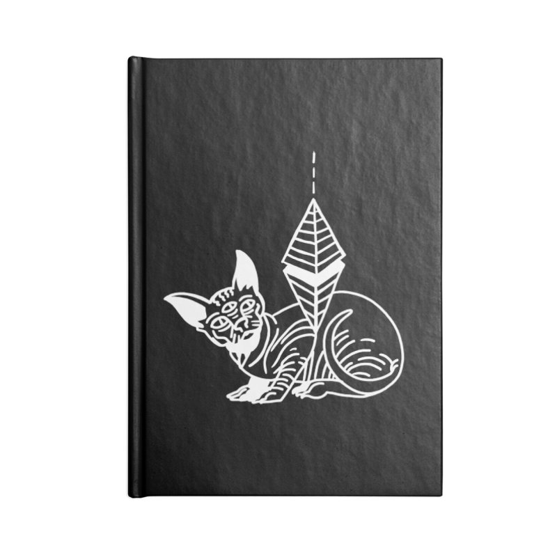 Gato Esfinge (white line) Accessories Lined Journal Notebook by Ertito Montana
