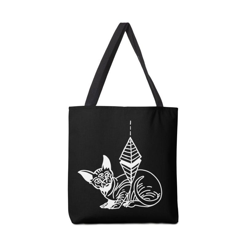 Gato Esfinge (white line) Accessories Bag by Ertito Montana