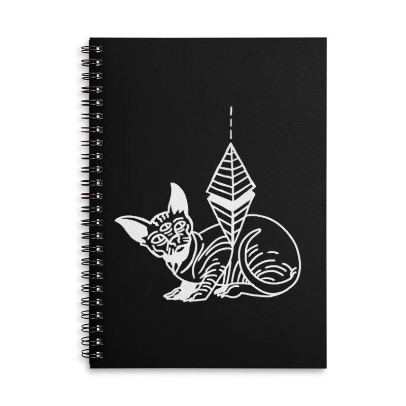 Gato Esfinge (white line) Accessories Lined Spiral Notebook by Ertito Montana