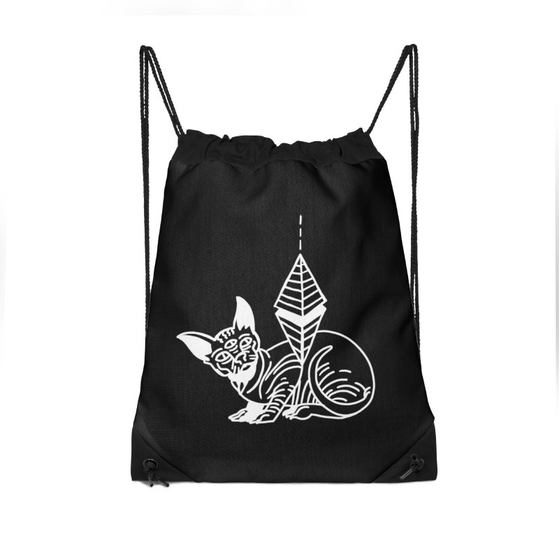 Gato Esfinge (white line) Accessories Drawstring Bag Bag by Ertito Montana