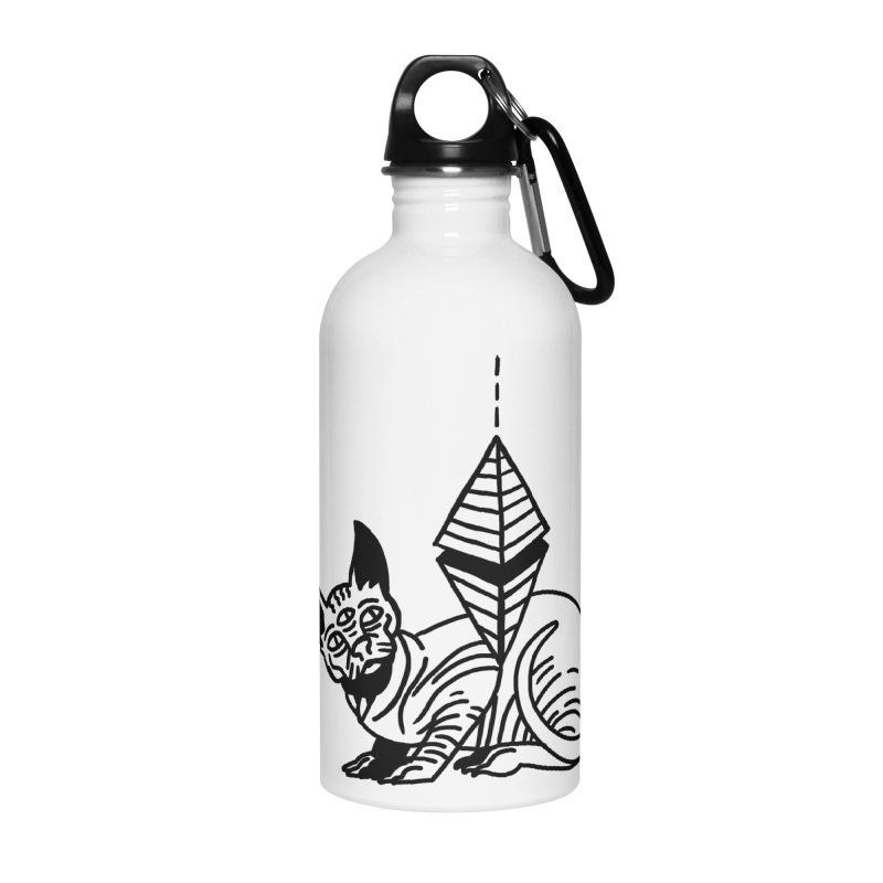 Gato esfinge (black line) Accessories Water Bottle by Ertito Montana