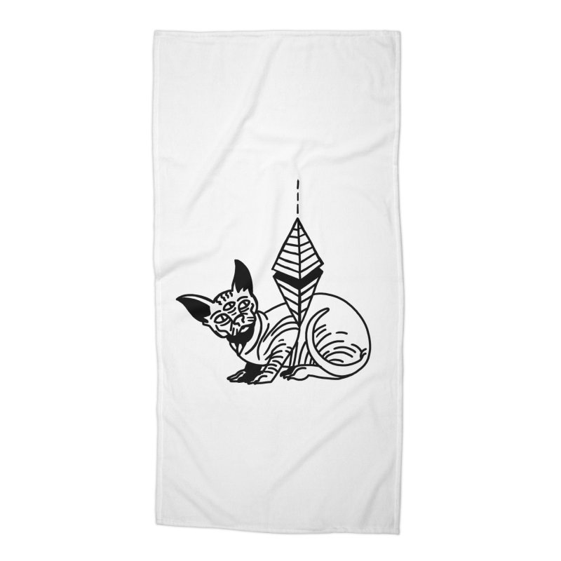 Gato esfinge (black line) Accessories Beach Towel by Ertito Montana