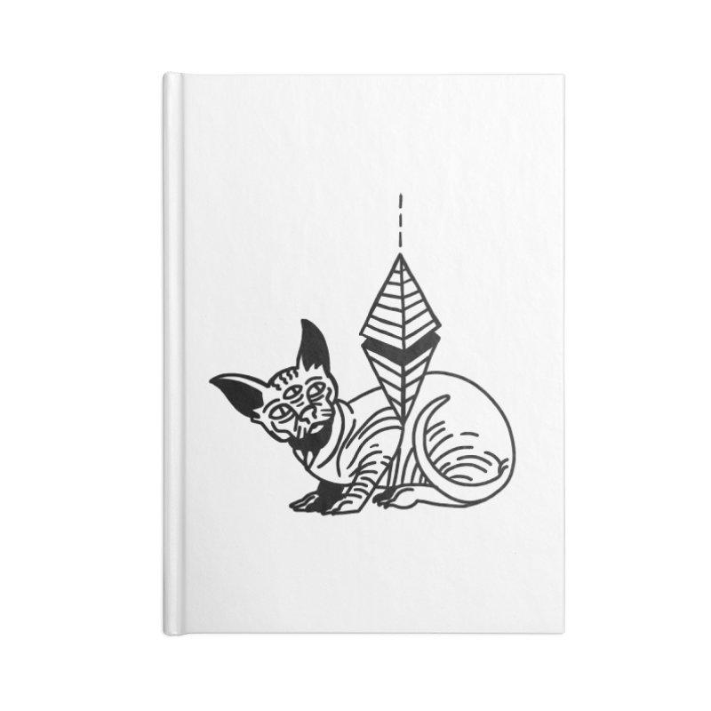 Gato esfinge (black line) Accessories Blank Journal Notebook by Ertito Montana