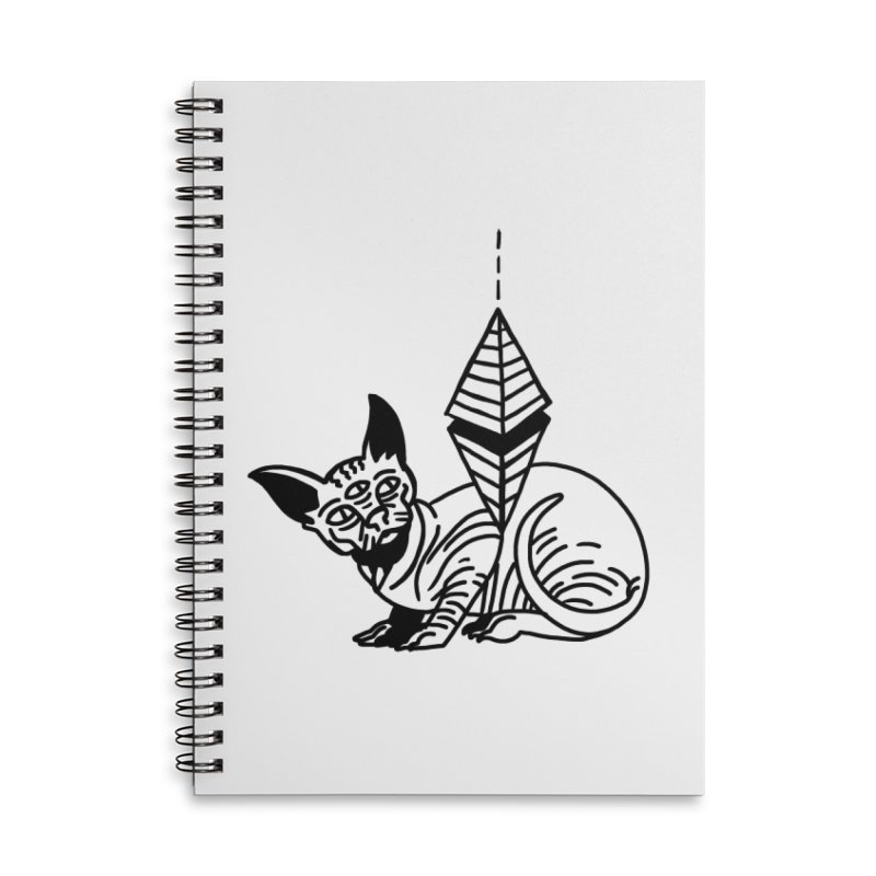 Gato esfinge (black line) Accessories Lined Spiral Notebook by Ertito Montana
