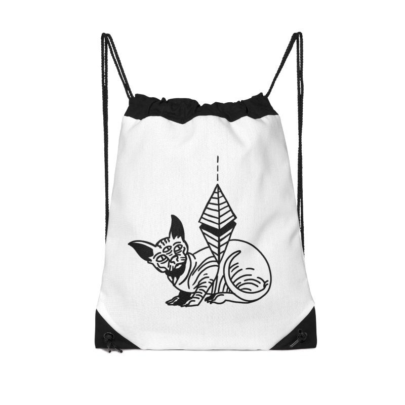 Gato esfinge (black line) Accessories Drawstring Bag Bag by Ertito Montana