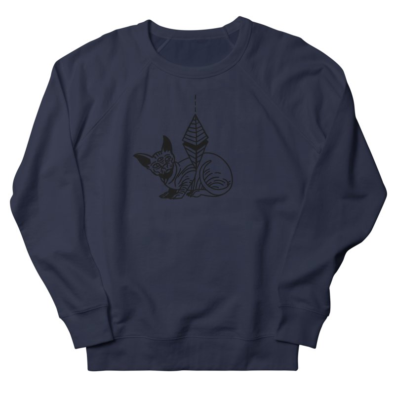 Gato esfinge (black line) Men's French Terry Sweatshirt by Ertito Montana