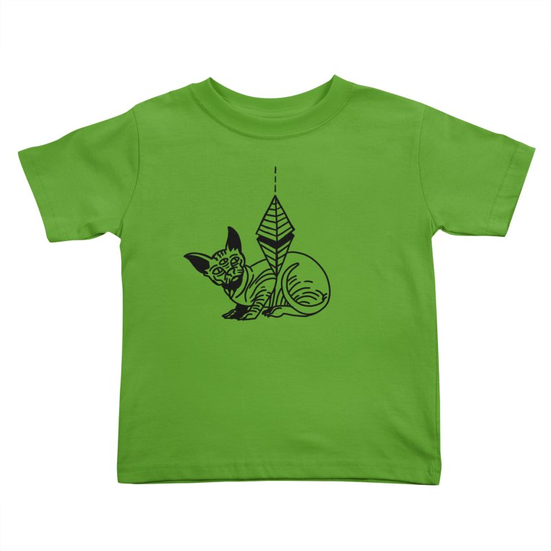 Gato esfinge (black line) Kids Toddler T-Shirt by Ertito Montana
