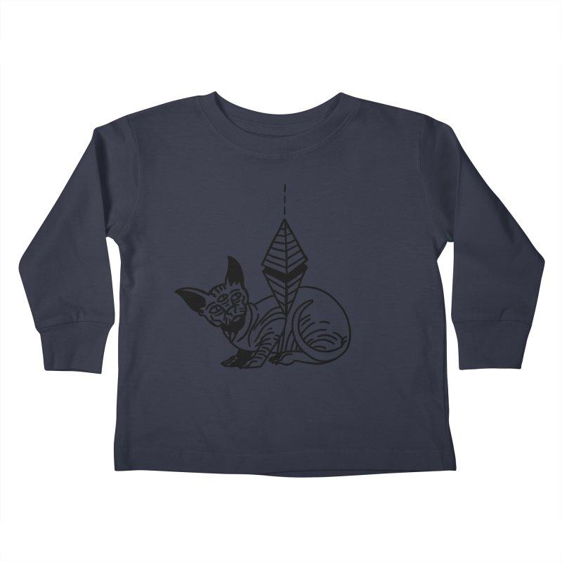Gato esfinge (black line) Kids Toddler Longsleeve T-Shirt by Ertito Montana