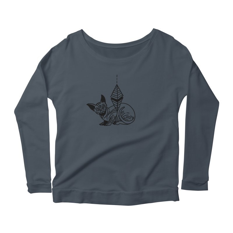 Gato esfinge (black line) Women's Scoop Neck Longsleeve T-Shirt by Ertito Montana