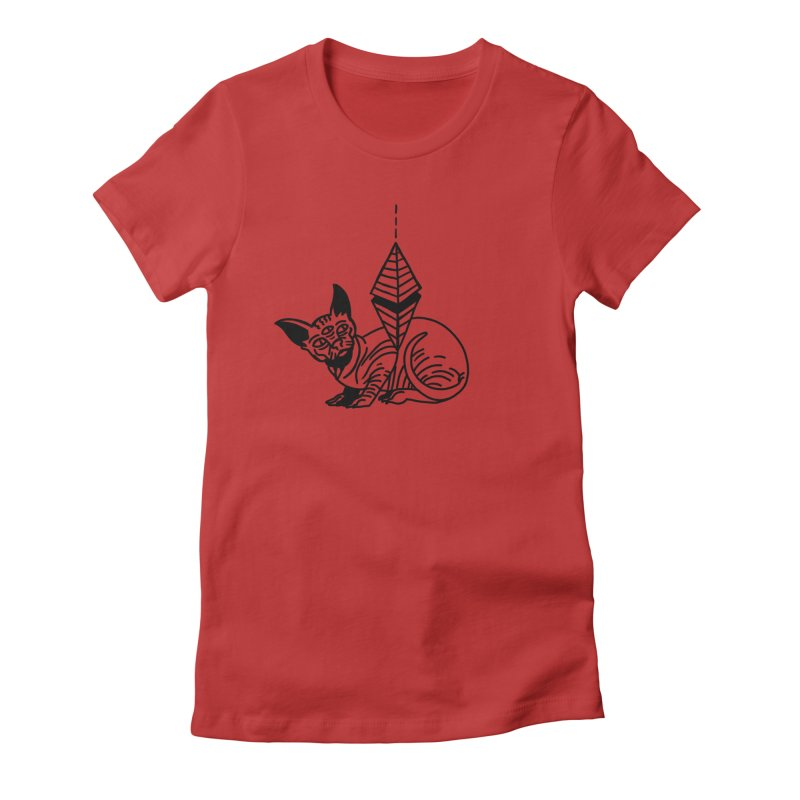 Gato esfinge (black line) Women's Fitted T-Shirt by Ertito Montana