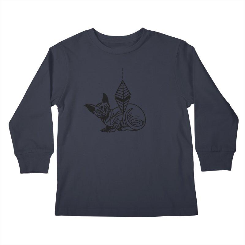 Gato esfinge (black line) Kids Longsleeve T-Shirt by Ertito Montana
