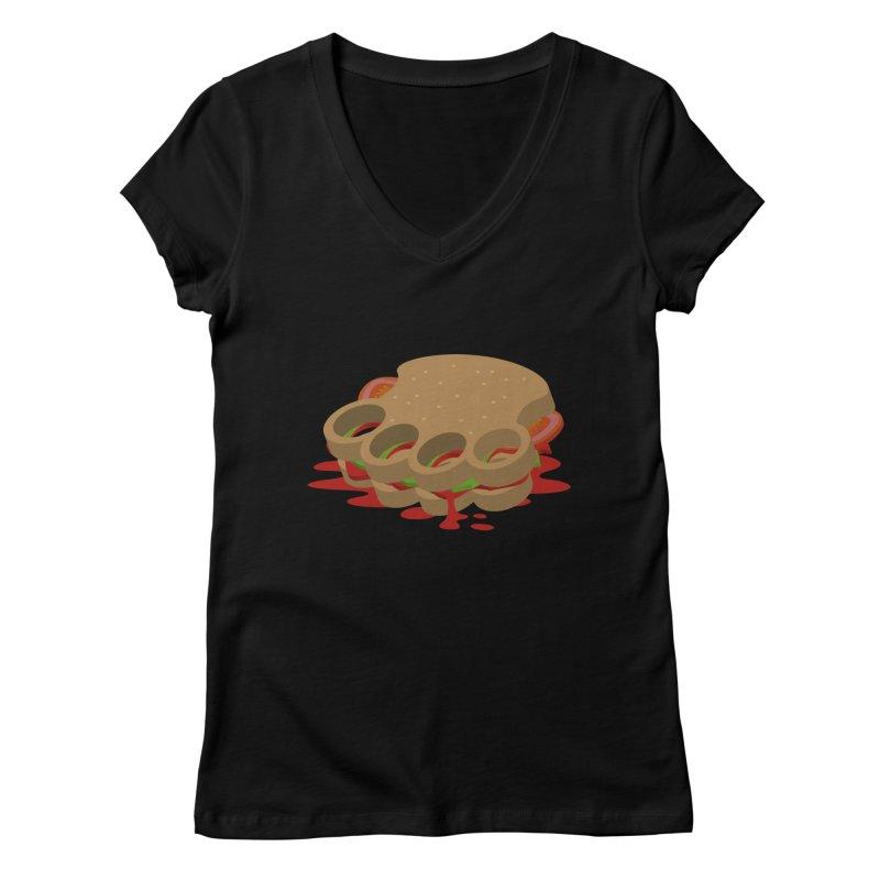 Knuckle sandwich Women's V-Neck by Erwin's Artist Shop
