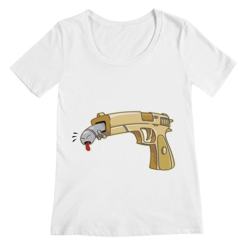 Guns stink! Women's Regular Scoop Neck by Erwin's Artist Shop