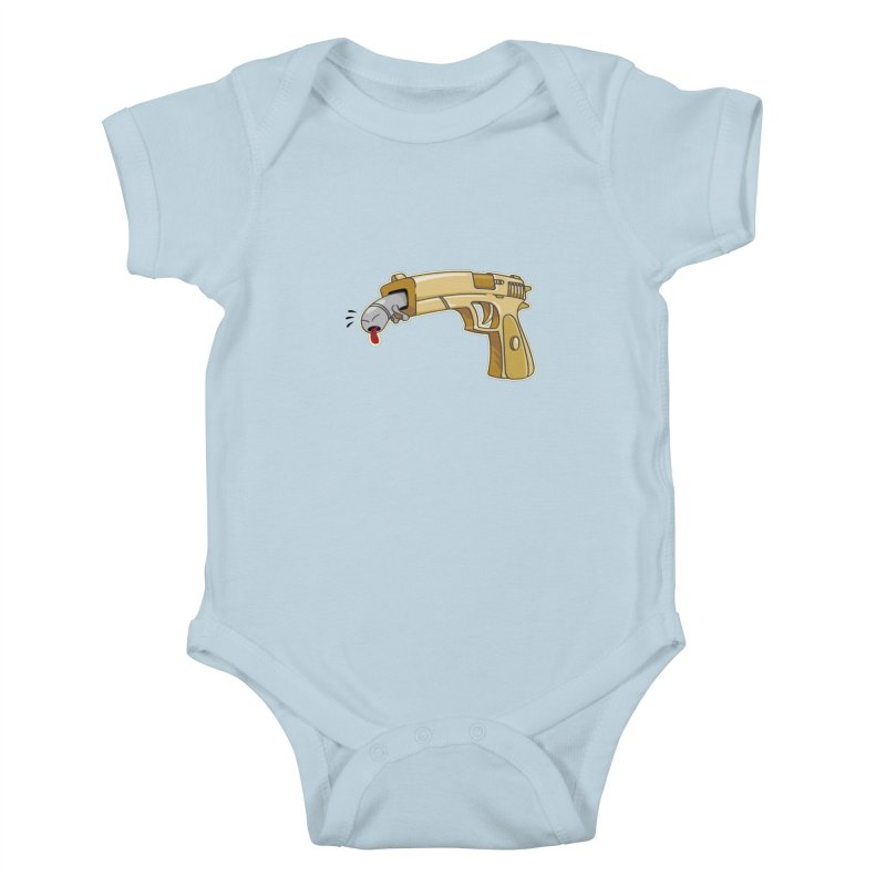 Guns stink! in Kids Baby Bodysuit Baby Blue by Erwin's Artist Shop