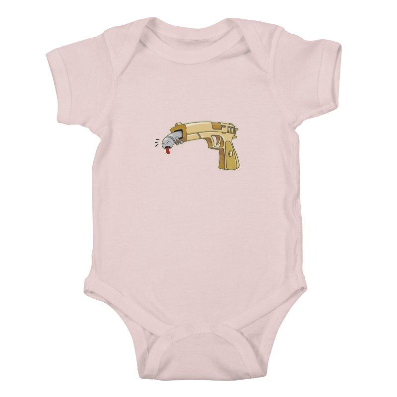 Guns stink! in Kids Baby Bodysuit Soft Pink by Erwin's Artist Shop