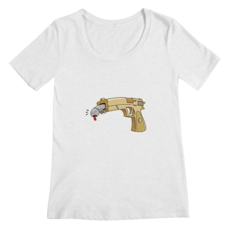 Guns stink! Women's Scoopneck by Erwin's Artist Shop