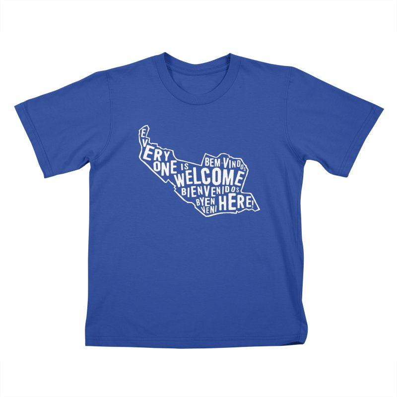 Everyone is Welcome Here - Logo White in Kids T-Shirt Royal Blue by ESCS PTA's Shop