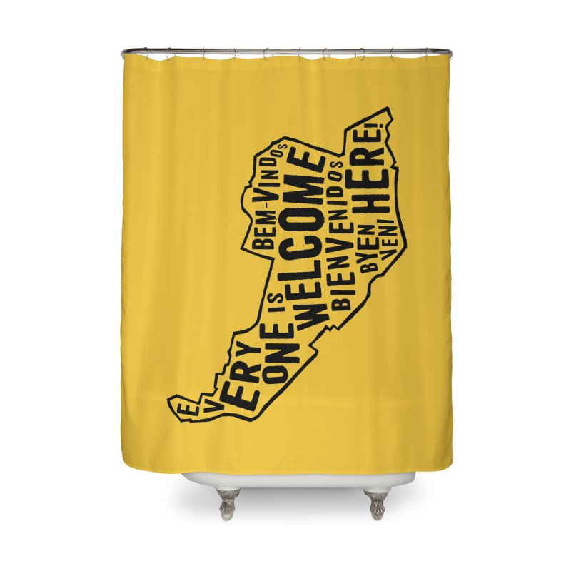 Everyone is Welcome Here - Logo Black Vertical Home Shower Curtain by ESCS PTA's Shop