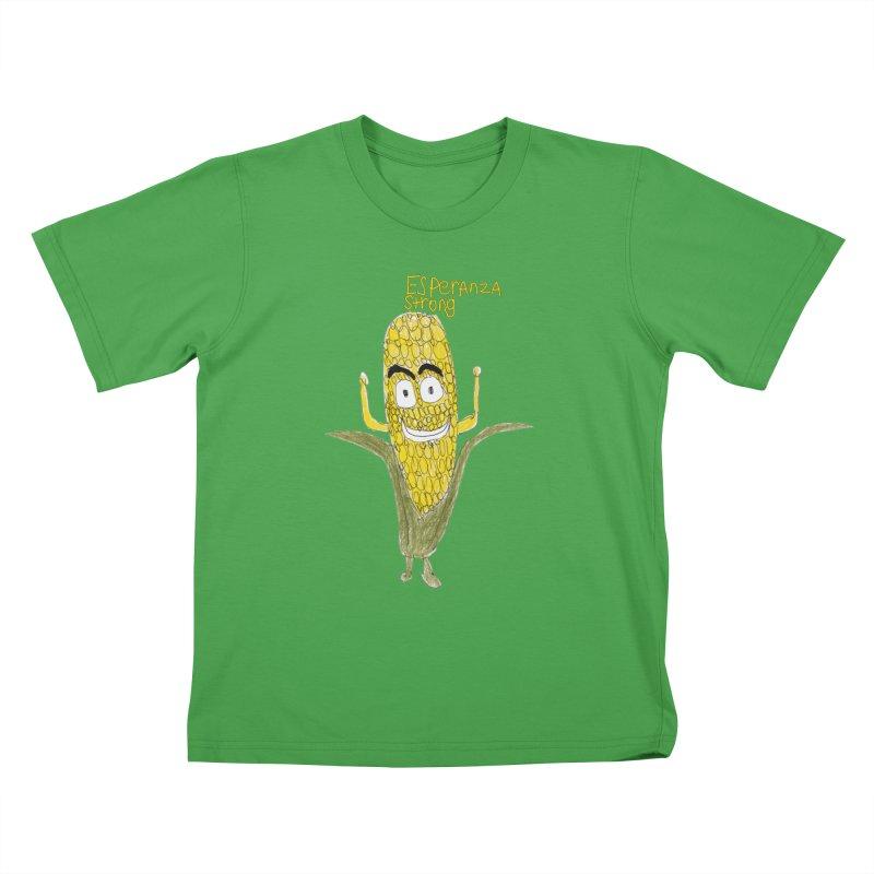Edwin's Strong Corn Man Kids T-Shirt by Esperanza Community's Artist Shop