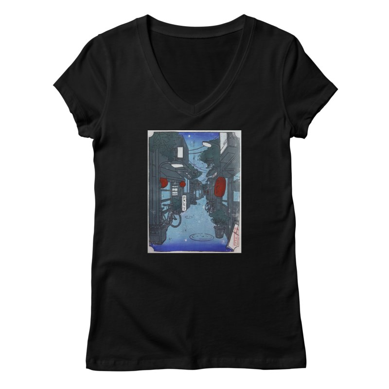 Streetlights and Lanterns (Color Print) Women's V-Neck by Emily's Artist Shop (all profits to organizations)