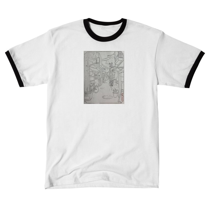 Streetlights and Lanterns (Black and White Print) Women's T-Shirt by Emily's Artist Shop (all profits to organizations)
